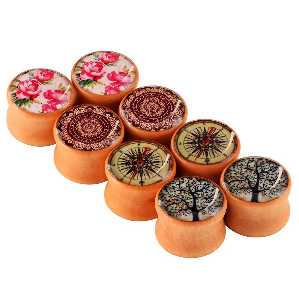 Longbeauty 4 Pairs Organic Wood Double Flared Ear Tunnels Expander Plugs Stretcher Piercings
