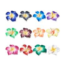 Craftdady 100Pcs Polymer Clay Plumeria Flower Spacer Loose Beads 30x11mm Random Mixed Colors 5 Petal Floral Charm Beads Side Drilled Hole: 2mm for Jewelry Making