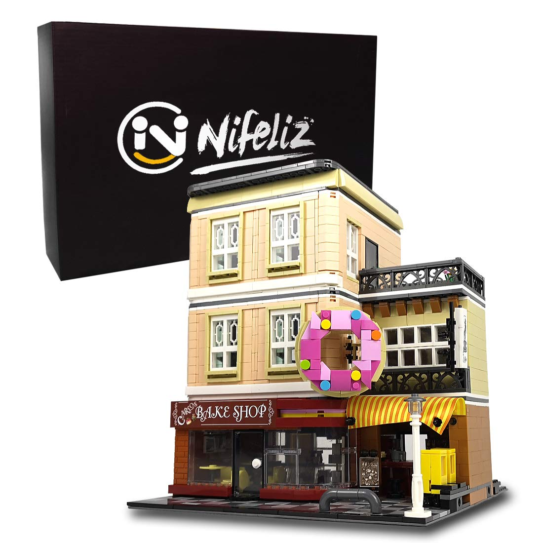 Nifeliz Street Bake Shop MOC Building Blocks and Engineering Toy, Construction Set to Build, Model Set and Assembly Toy for Teens and Adult(2919 Pcs)