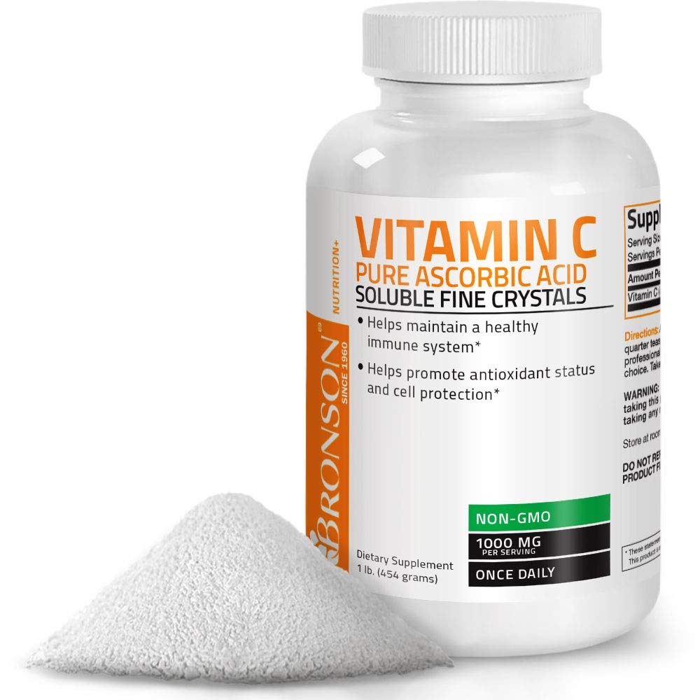 Vitamin C Powder Pure Ascorbic Acid Soluble Fine Non GMO Crystals – Promotes Healthy Immune System and Cell Protection – Powerful Antioxidant - 1 Pound (16 Ounces)