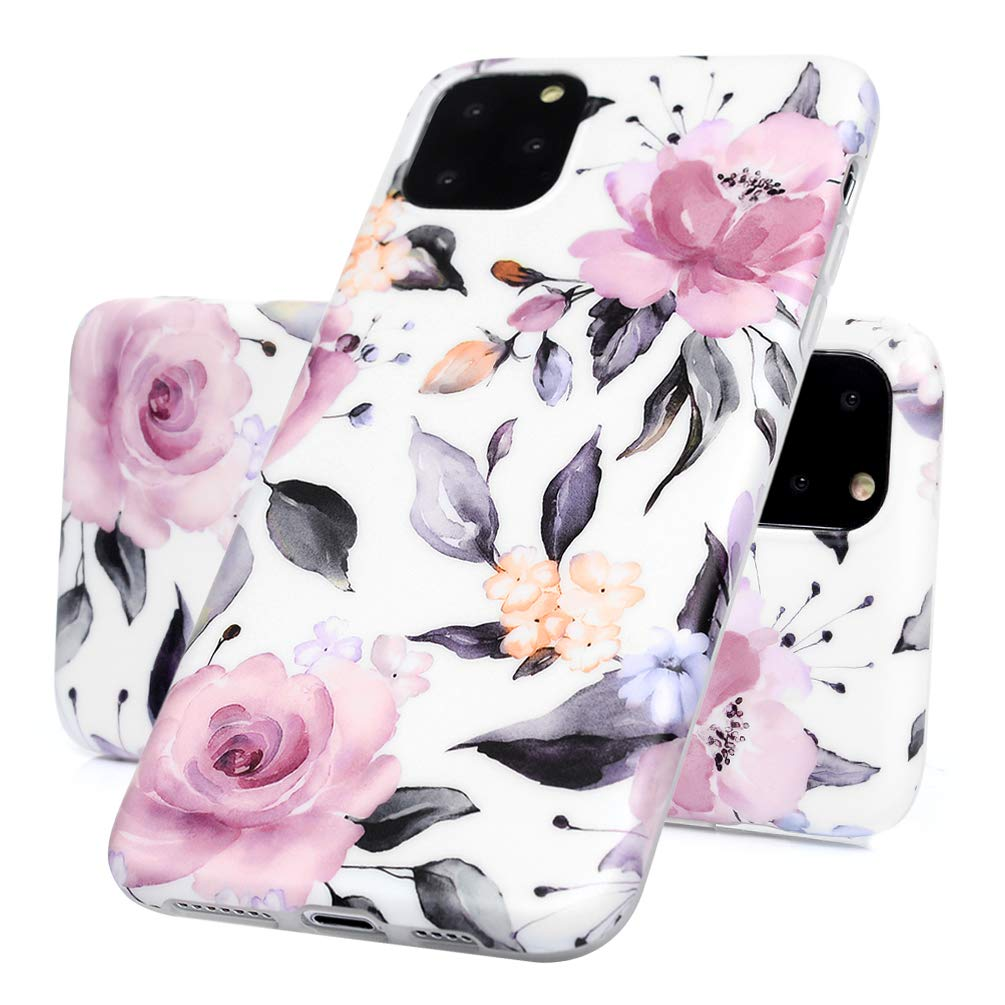 ZSTVIVA iPhone 11 Pro Max Floral Case Flower Glossy Case with Premium Flexible Shockproof TPU Gel Bumper Tropical Flower Case for iPhone 11 Pro Max 6.5 Inch