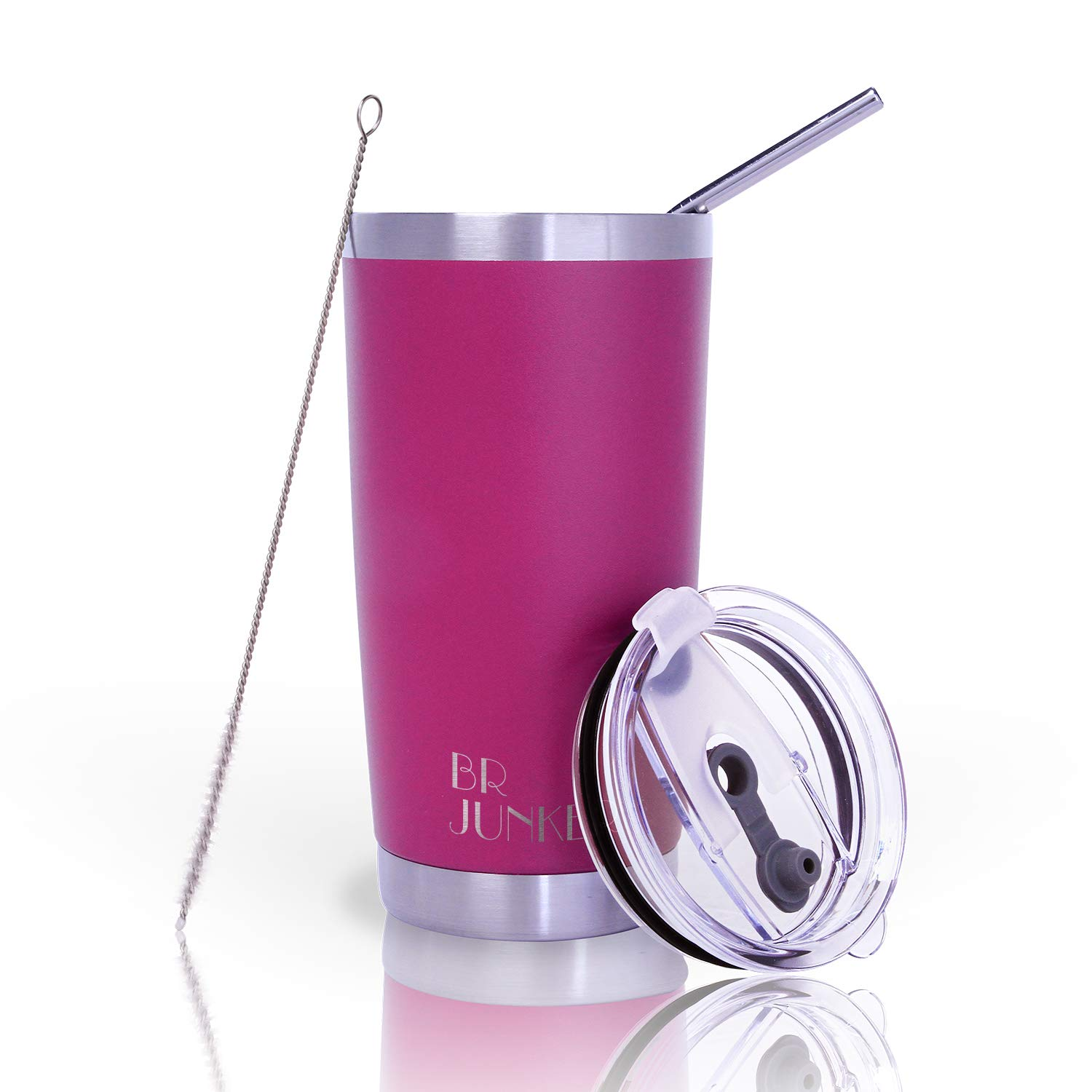 20 oz. Tumbler Double Wall Stainless Steel Vacuum Insulation Travel Mug with Crystal Clear Lid and Straw, Water Coffee Cup for Home,Office,School, Ice Drink, Hot Beverage,Fuchsia