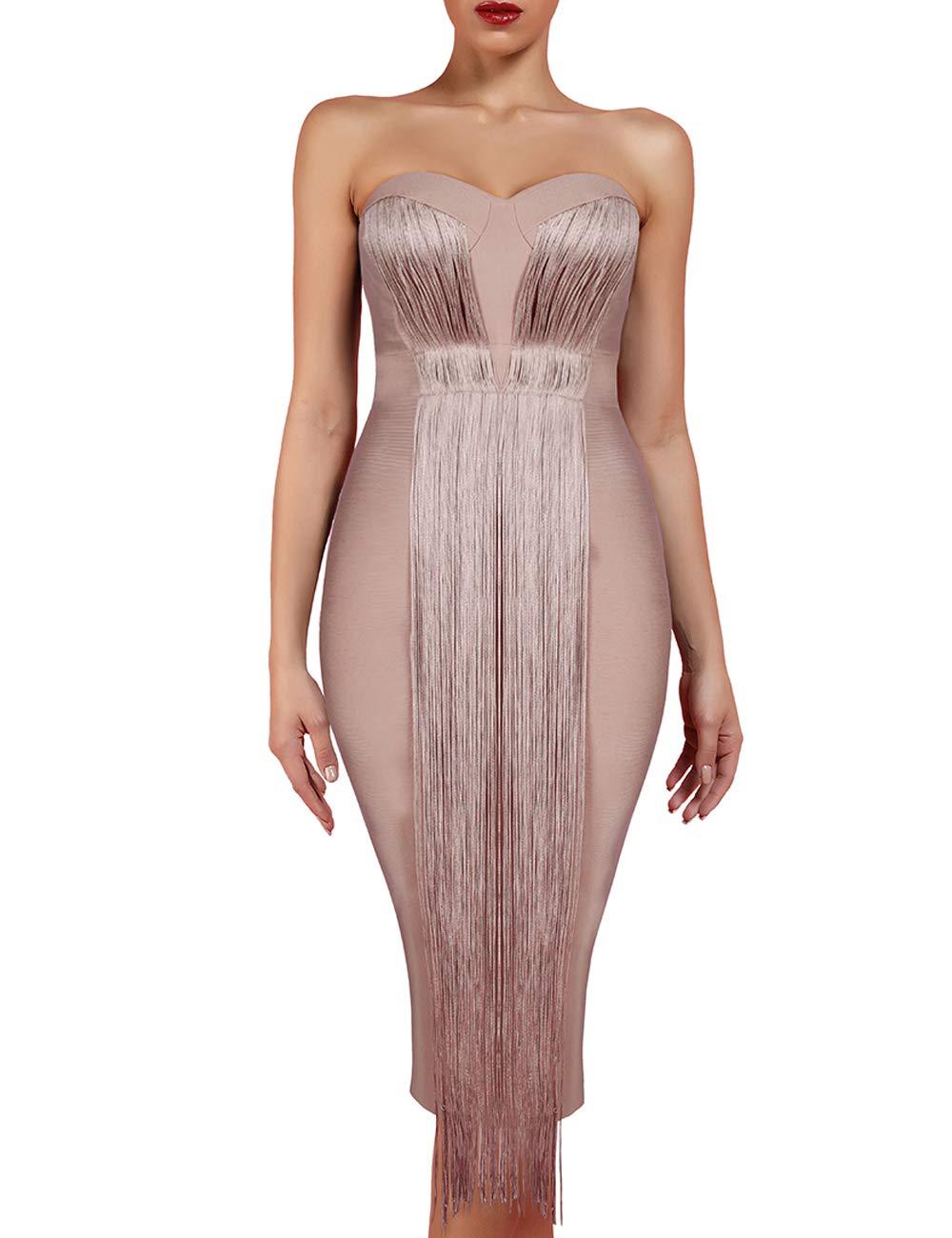 UONBOX Women's Strapless Elegant Tassel Tube Dress Bodycon Party Bandage Dress