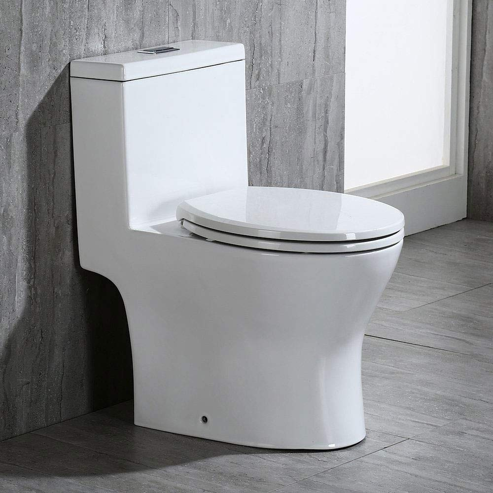 Woodbridge Modern Design, Elongated One Piece Toilet Dual Flush 1.0/1.6 GPF,with Soft Closing Seat, White, T-0032