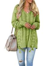 YONYWA Womens Sweaters Plus Size V Neck Oversized Cable Knit Lace Up Chunky Pullover Sweater Tunic Tops