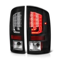 VIPMOTOZ Black Bezel Premium Fiber Optic Tube LED Tail Light Housing Lamp Assembly For 2002-2006 Dodge RAM 1500 2500 3500 Pickup Truck Driver and Passenger Side Replacement