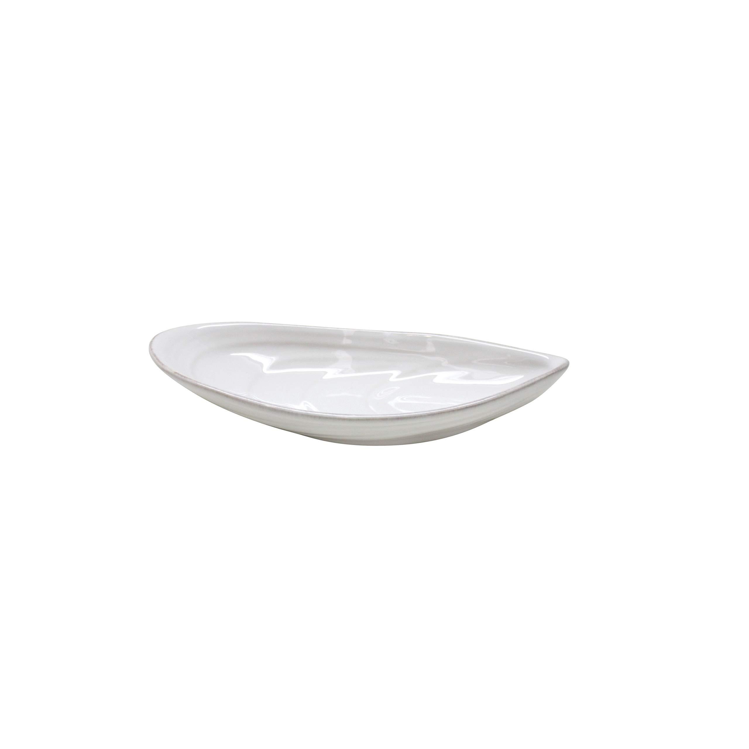 """COSTA NOVA Aparte Collection Stoneware Ceramic Mussel Platter Small 7.5"""", White"""