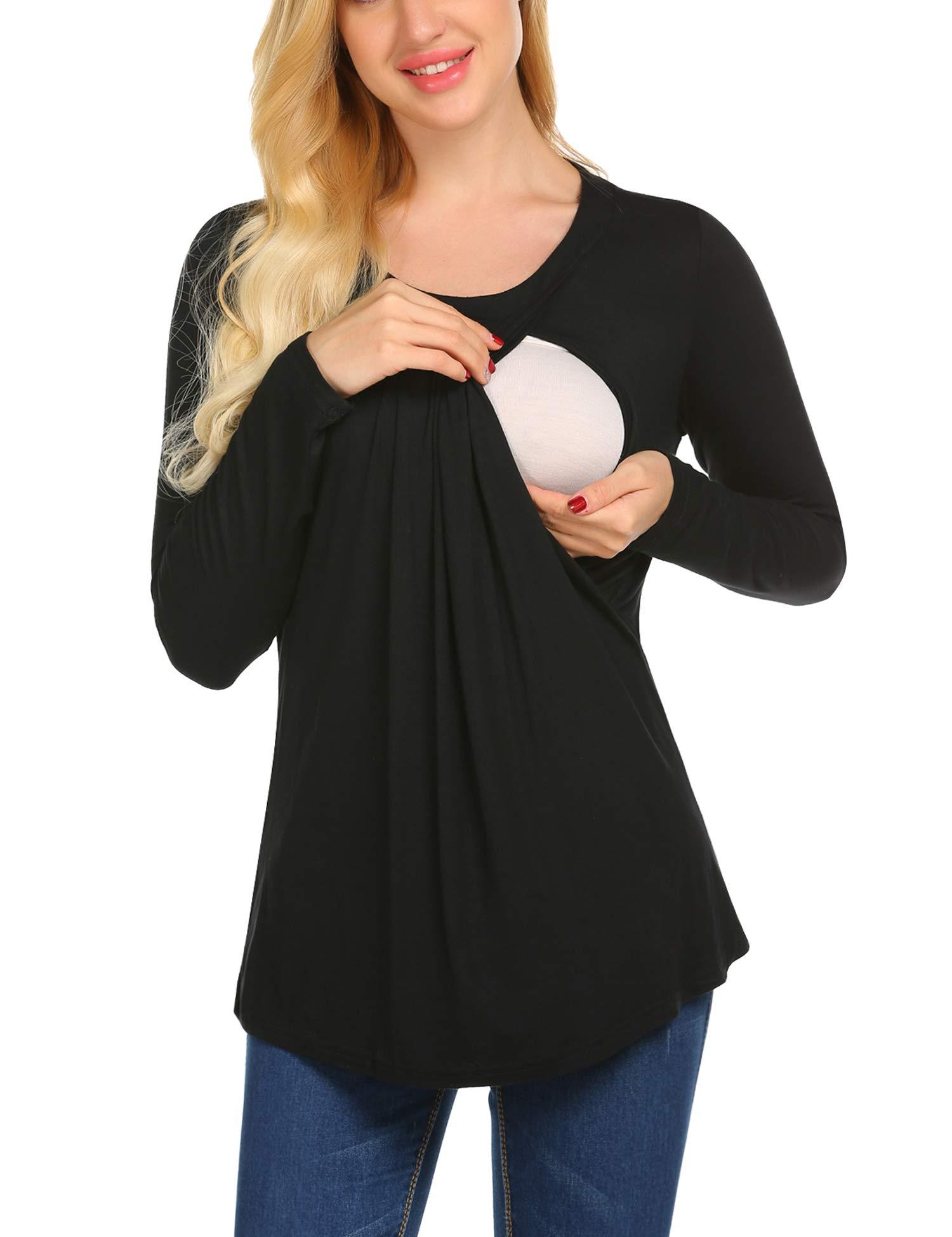 MAXMODA Women's Maternity Nursing Top Breastfeeding Top Tee Shirt Double Layer Short Sleeve Pregnancy Shirt