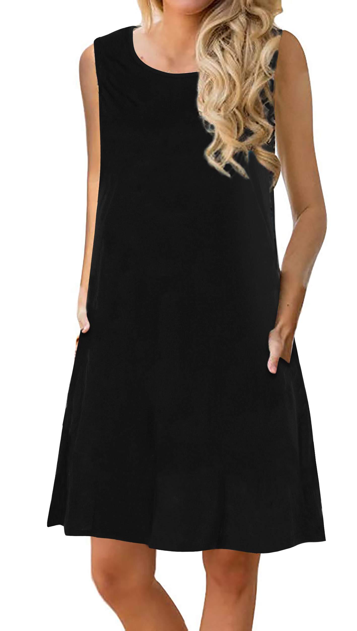 Manydress Women's Summer Casual Sleeveless Dress Floral Printed Swing Dress T-Shirt Dress Sundress with Pockets MY028 (Black, S)