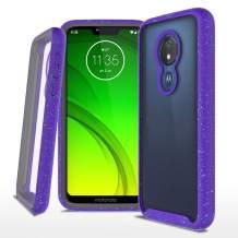 Moto G7 Power Case, Moto G7 Supra Case, Moto G7 Optimo Maxx Case, Built-in Screen Protector, Heavy Duty Shock-Absorption Rugged Bumper Clear Protective Cover for Motorola Moto G7 Power(X71955), Purple
