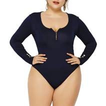 IyMoo Women's Sexy Plus Size Long Sleeve Jumpsuit High Stretch Bodysuit Rompers Playsuit Bodycon Leotards