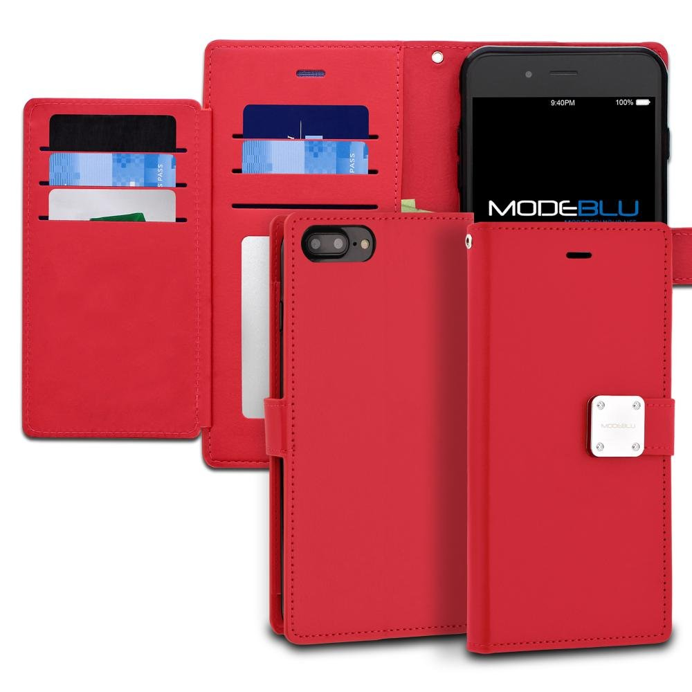 iPhone 7 Plus Case, ModeBlu [Mode Diary Series] [Red] Premium Synthetic Leather [Stand View] for Apple iPhone 7 Plus (2016)