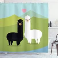 """Ambesonne Llama Shower Curtain, Alpacas in Love in The Mountains Argentina Fauna Animals with Contrasting Colors, Cloth Fabric Bathroom Decor Set with Hooks, 75"""" Long, Green Blue"""