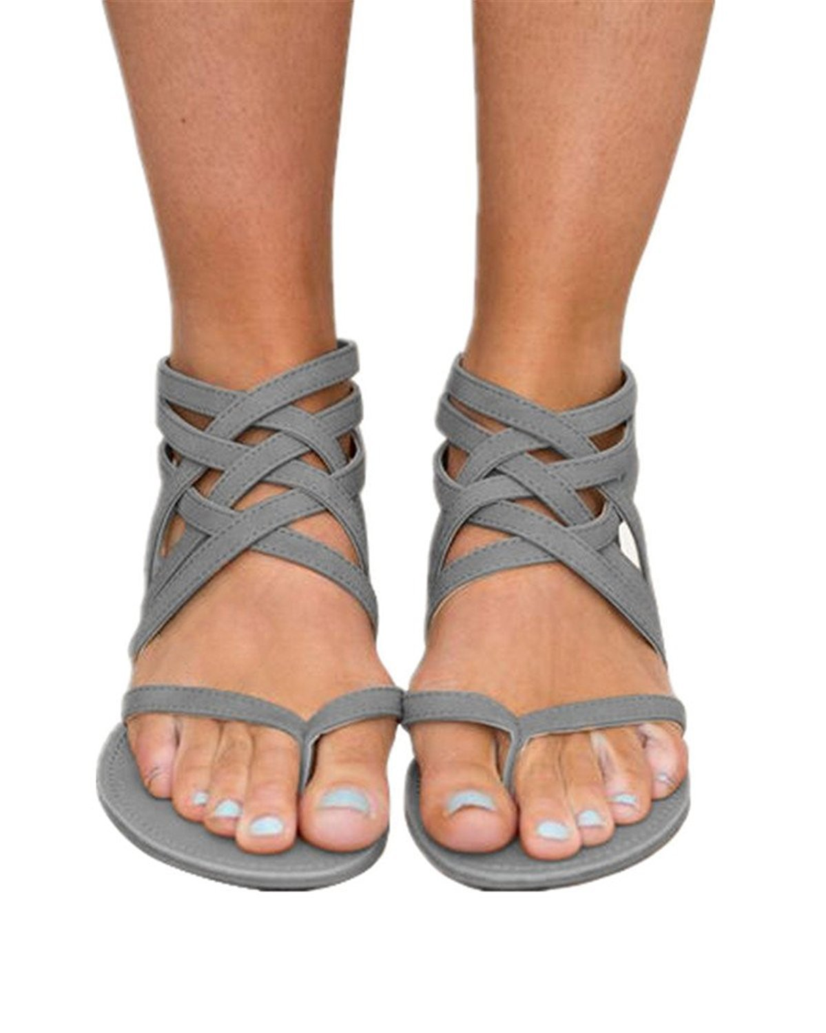 Womens Strappy Gladiator Flat Sandals Thong Criss Cross Summer Beach Shoes Back Zip