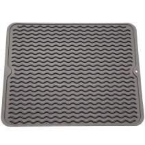 VARUN Silicon Dish Drying Mats, Non-Slip & Heat Resistant Trivet,Durable Kitchen Drainer pad,Eco-Friendly and BPA Free, Dishwasher Safe, Grey Large16'' X 12''