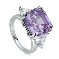 BERRICLE Rhodium Plated Sterling Silver Purple Asscher Cut Cubic Zirconia CZ Statement 3-Stone Cocktail Anniversary Fashion Right Hand Ring