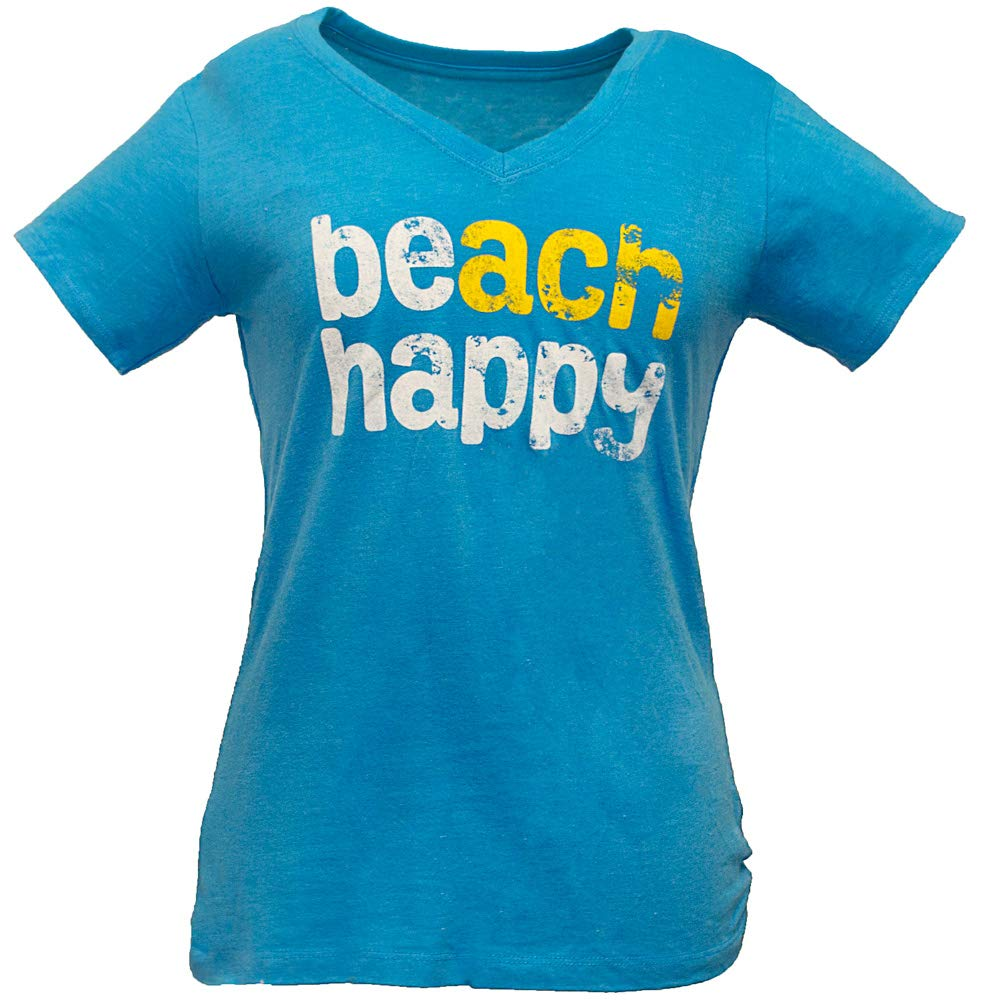 Beach Happy Women's V-Neck Shirt Made From Recycled Plastic Bottles