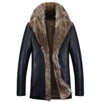 TEERFU Men's Winter Luxurious Raccoon Fur Collar Long Coat Trench Overcoat