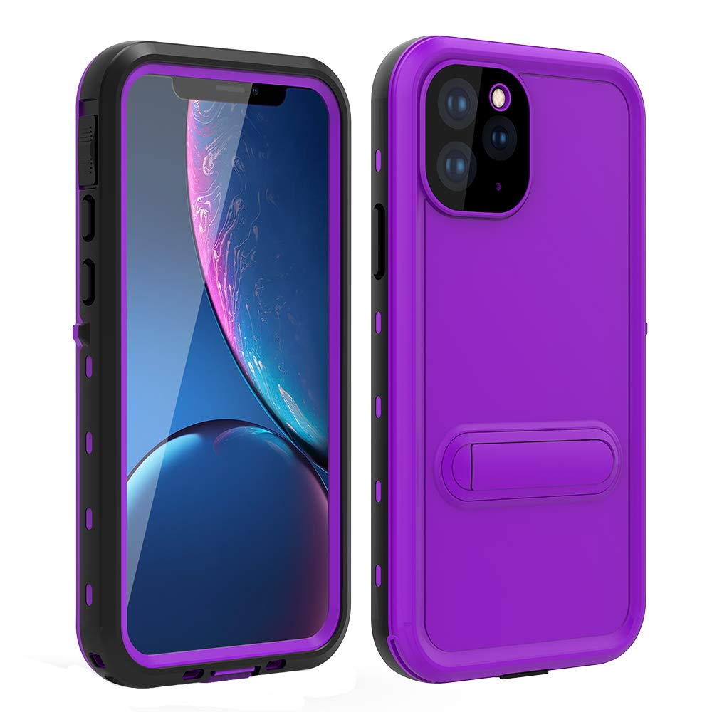 HYAIZLZ iPhone 11 Case Waterproof Kickstand Phone Case Full Body Heavy Duty Protection with Built-in Screen Protector Back Cover for iPhone 11 6.1 inch,Purple