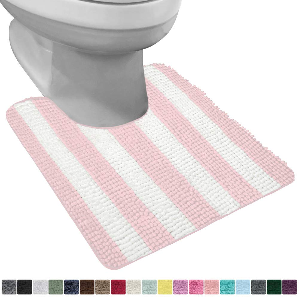 Gorilla Grip Original Shaggy Chenille Oval U-Shape Contoured Mat for Base of Toilet, 22.5x19.5 Size, Machine Wash and Dry, Plush Absorbent Contour Carpet Mats for Bathroom Toilets, Light Pink White