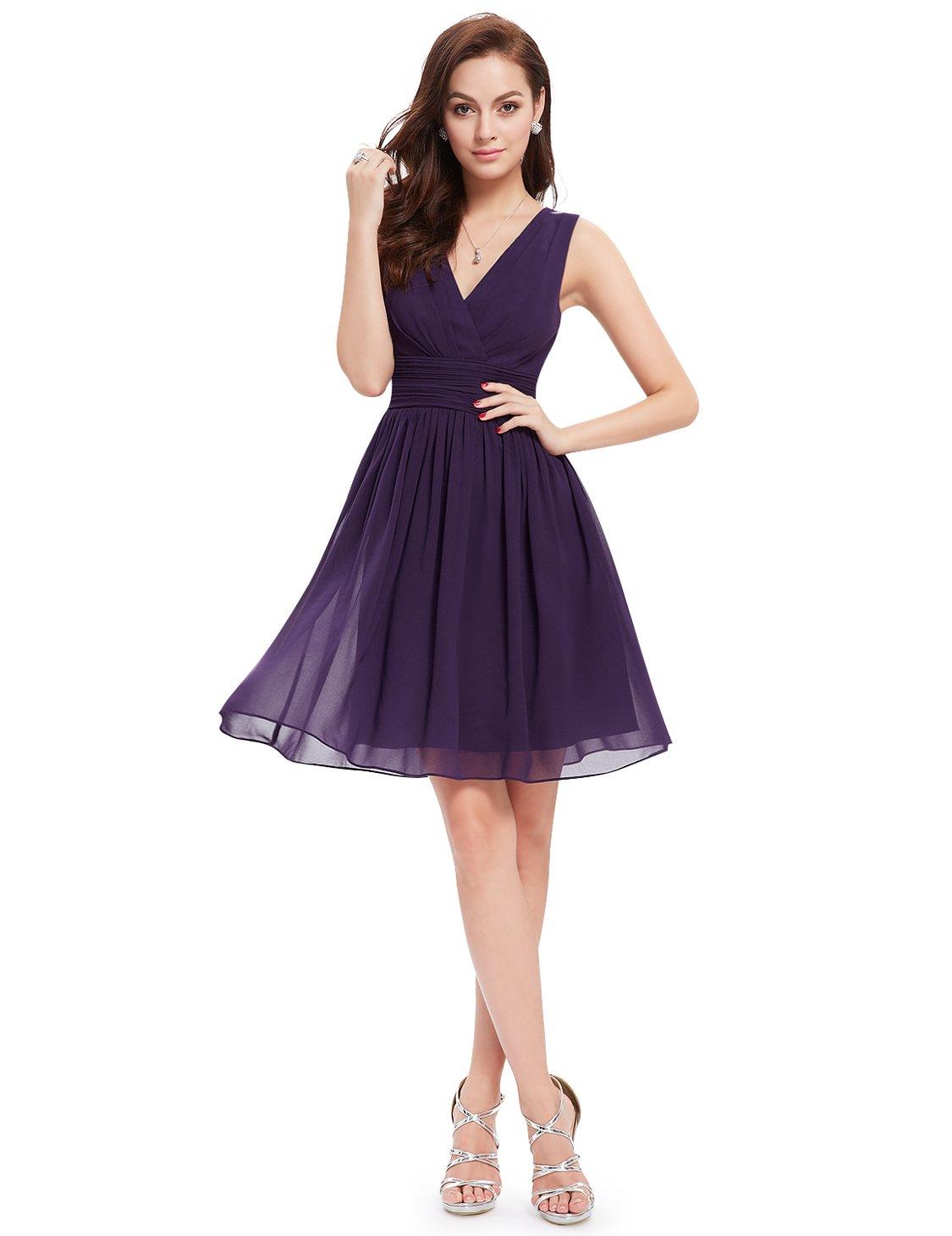 Alisapan Womens V-Neck Chiffon Short Bridesmaid Summer Party Wedding Dresses for Guests 3989