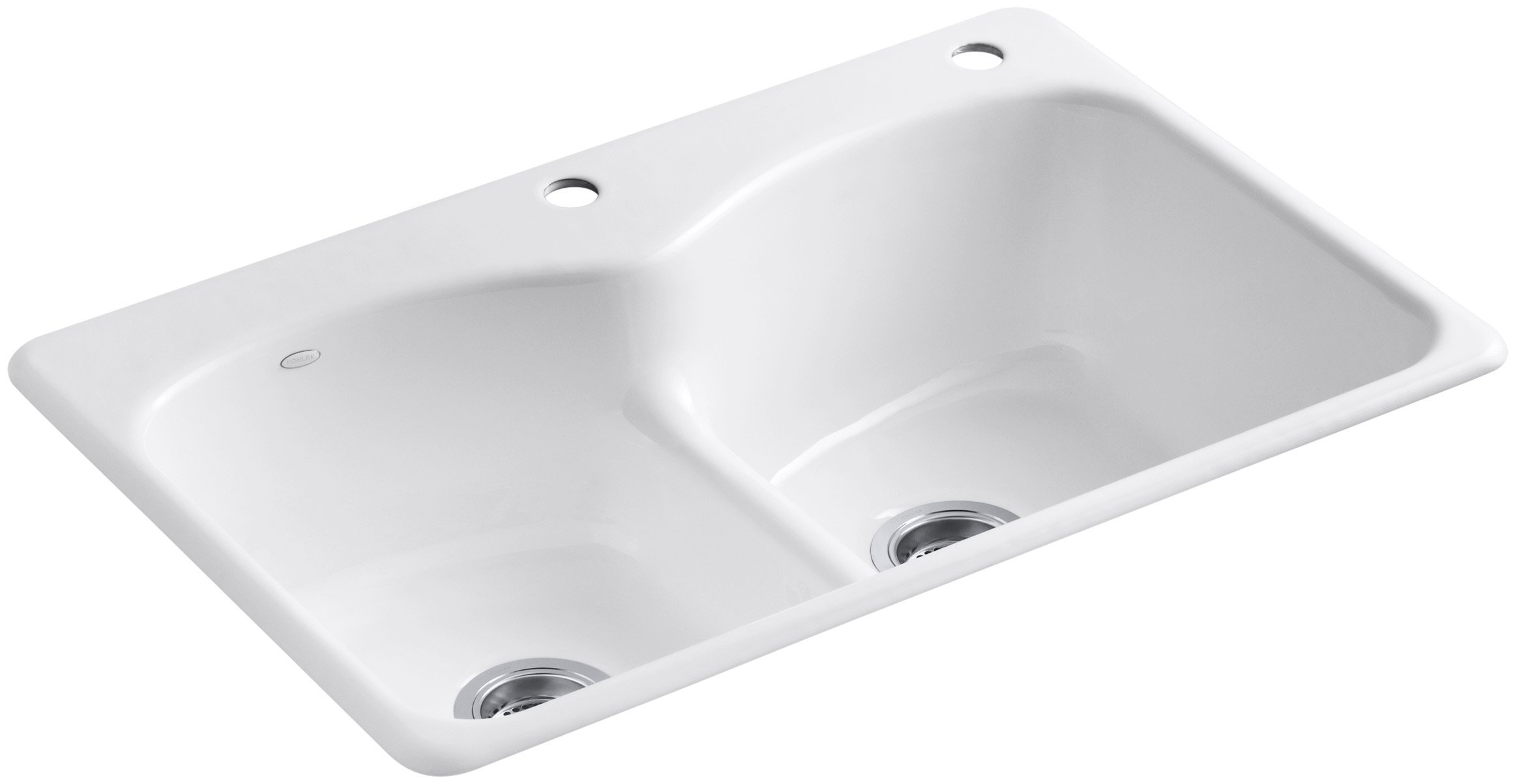KOHLER K-6626-2-0 Langlade Smart Divide Self-Rimming Kitchen Sink, White
