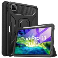 "MoKo Case Fit iPad Pro 11 2020 2nd Generation, [Built-in Screen Protector] Full-Body Shockproof Case Smart Shell Trifold Stand Cover with Auto Sleep/Wake & Pencil Holder Fit iPad Pro 11"" 2020 - Black"