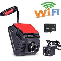 Ezonetronics WiFi Dash Cam Dual Camera 1920 x 1080P FHD 170° Angle Car Dash Camera Driving Recorder with Loop Recording G-Sensor WiFi Video Downloading with 8GB SD Card WF0813