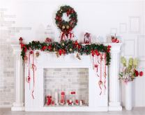 AOFOTO 10x8ft Christmas Decoration Photography Background Fireplace Backdrop Xmas Wreath New Year Holiday Interior Mantel Kid Adult Lovers Baby Portrait Photo Studio Props Video Drape Wallpaper