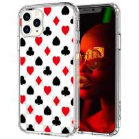 MOSNOVO iPhone 11 Pro Max Case, Spades Hearts Diamonds Clubs Pattern Printed Clear Design Transparent Plastic Hard Back Case with TPU Bumper Protective Case Cover for iPhone 11 Pro Max