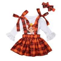 Thanksgiving Toddler Baby Girl Turkey Long Sleeve T-Shirt Tops + Plaid Suspender Skirt Headband 3PCS Overalls Clothes Set