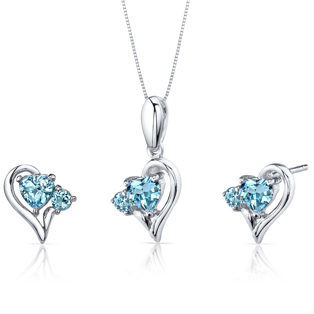 Swiss Blue Topaz Pendant Earrings Necklace Set Sterling Silver Heart Shape 2.25 Carats