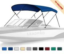 Leadpro 10 Optional Colors 13 Different Sizes 3-4 Bow Bimini Top Boat Cover with 4 Straps, Mounting Hardwares & Storage Boot