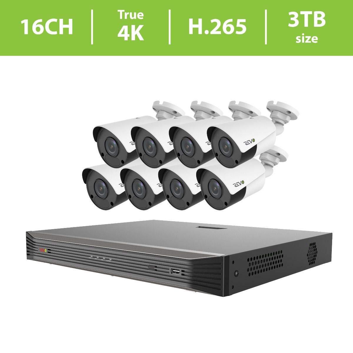 REVO America Ultra True 4K 16CH. 3TB HDD Ip NVR Video Surveillance System, 8 x 4K Bullet Fixed Lens Bullet Cameras Indoor/Outdoor - Remote Access Via Smart Phone, Tablet, PC & MAC