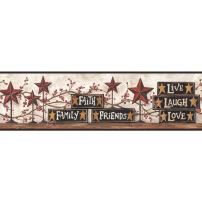 York Wallcoverings CB5503BDSMP Hearts and Crafts III Stars and Blocks On Shelf Border Memo Sample, 8-Inch x 10-Inch, Brown