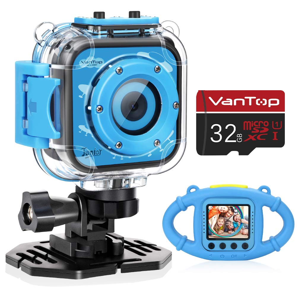 VanTop Junior K3 Kids Camera, 1080P Supported Waterproof Video Camera w/ 32Gb Memory Card, Extra Kid-Proof Silicon Case