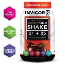 INVIGOR8 Superfood Shake (Chocolate Brownie) with Immunity Boosters - Gluten Free Non GMO Meal Replacement Grass-Fed Whey Protein Shake with Omega 3 (645g)