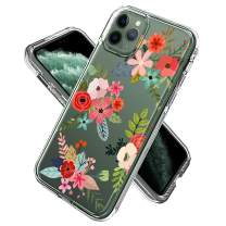SOKAD iPhone 11 Pro Max Case, Clear Colorful Flowers Design Hard PC & Flexible TPU Shockproof 2 in 1 Transparent Bumper Hybrid Dual Protective Floral Cover Case for iPhone 11 Pro Max 6.5 Inch 2019