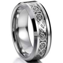 MOWOM Silver Gold Tone 8mm Wedding Rings for Mens Women Boys Girls Water Resistant Tungsten Promise Bands Irish Celtic Knot Dragon Design