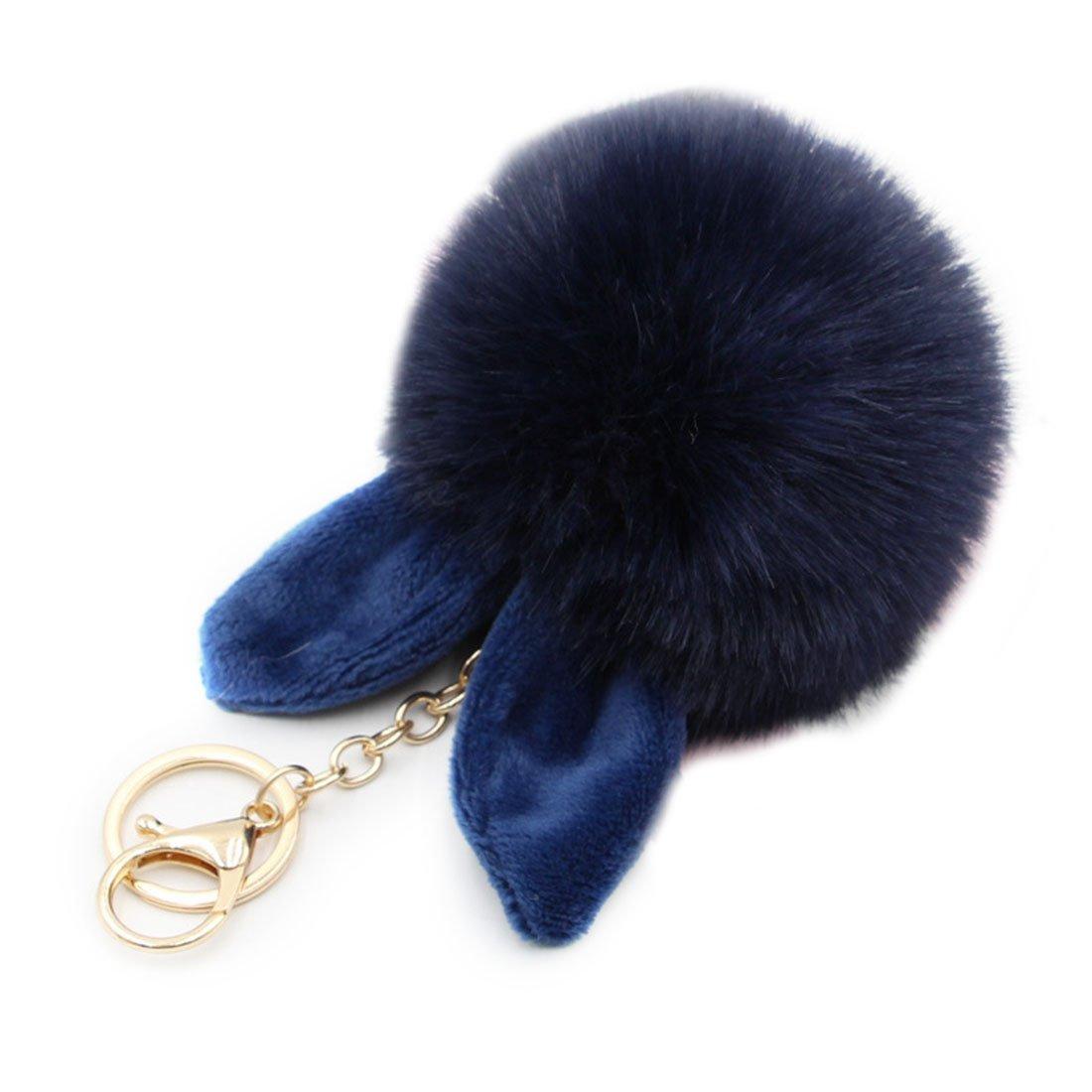 URSFUR 2PCS Faux Pom Pom Balls Keychain- Fluffy Balls for Phones, Rabbit Ear Pendant Keyring Accessories Car Bag Charm
