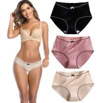 Women's Underwear Cotton Stretch High-Cut Bikini Panty Solid Color Panties Briefs 3 Pieces
