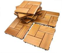 Teak Flooring Tiles, Easy Install Wood Interlocking Flooring Tiles 12 x 12 Inch for Indoor or Outdoor by HTB (Pack of 10)