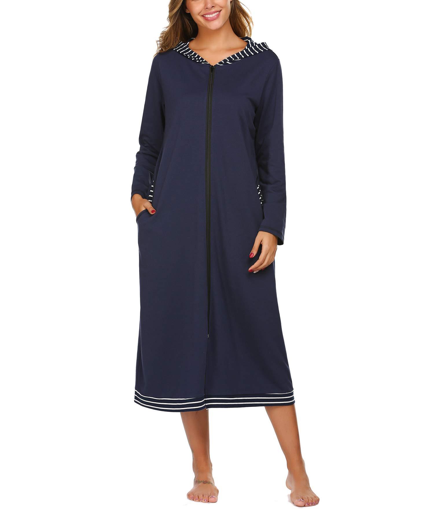 luxilooks Nightgown Womens Button Down Nightshirt Short Sleeve Night Gown with Pockets Sleepwear S-XXL