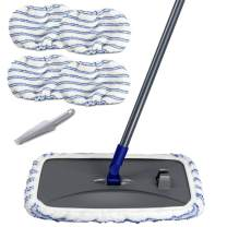 Large Surface Microfiber Flat Mop with 4 Extra Pcs Reusable Mop Heads Cleaning Comb Scrapper and Telescopic Handle Household Mop for Hardwood Laminate Tile Ceramic Floor Cleaning