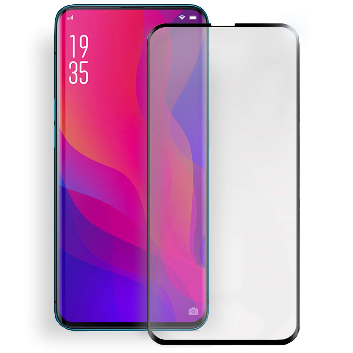Olixar for Oppo Find X Screen Protector Full Coverage - Tempered Glass - 9H Rated - Shock Protection - Easy Application, Card and Cleaning Cloth Included - Black