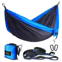 Nevis Outdoor Double & Single Camping Hammock with Tree Straps. Premium British Lightweight Hammock Suitable for Travel, Hiking, Beach, Outdoor, Patio, Backpacking & Survival.
