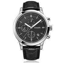 Men Quartz Chronograph Sports Watch,Semdu Fashion Luxury Business Casual Sports Date Water Proof White Black Dial Brown Black Calfskin Leather Strap Silver Rose Gold Wrist Watch