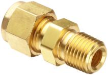 "Parker CPI 4-4 FBZ-B Brass Compression Tube Fitting, Adapter, 1/4"" Tube OD x 1/4"" NPT Male"