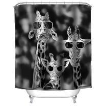 "waylongplus Giraffe Wearing Sunglasses Print Waterproof Pongee Shower Curtain Plastic Shower Hooks Include (60""x72"")"
