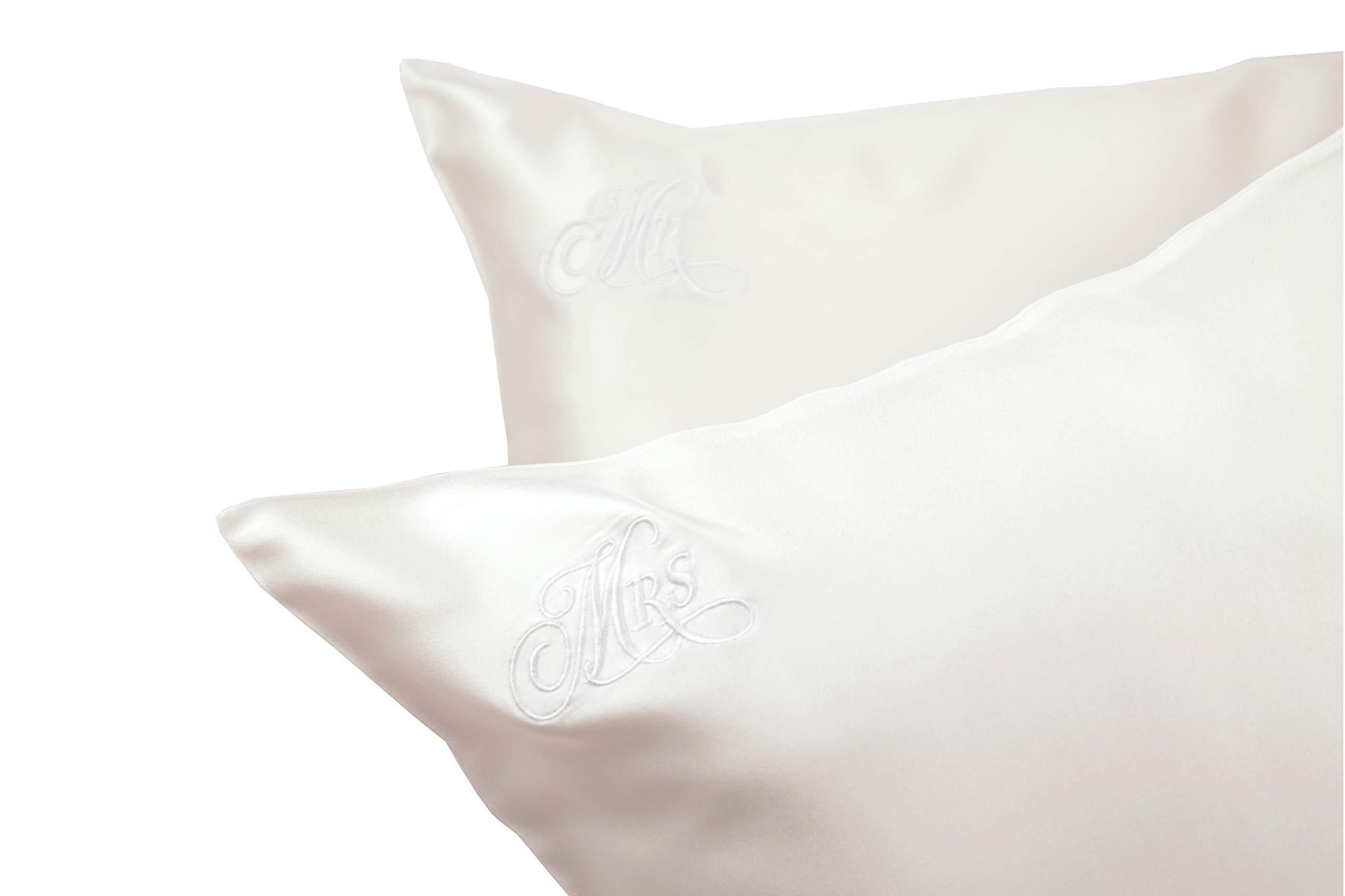 Celestial Silk Mr and Mrs Pillowcase Set, Embroidered Silk Pillowcases Wedding, (Queen 20x30)
